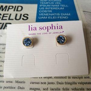 Lia Sophia Gold Tone Ocean Blue Stud Earrings